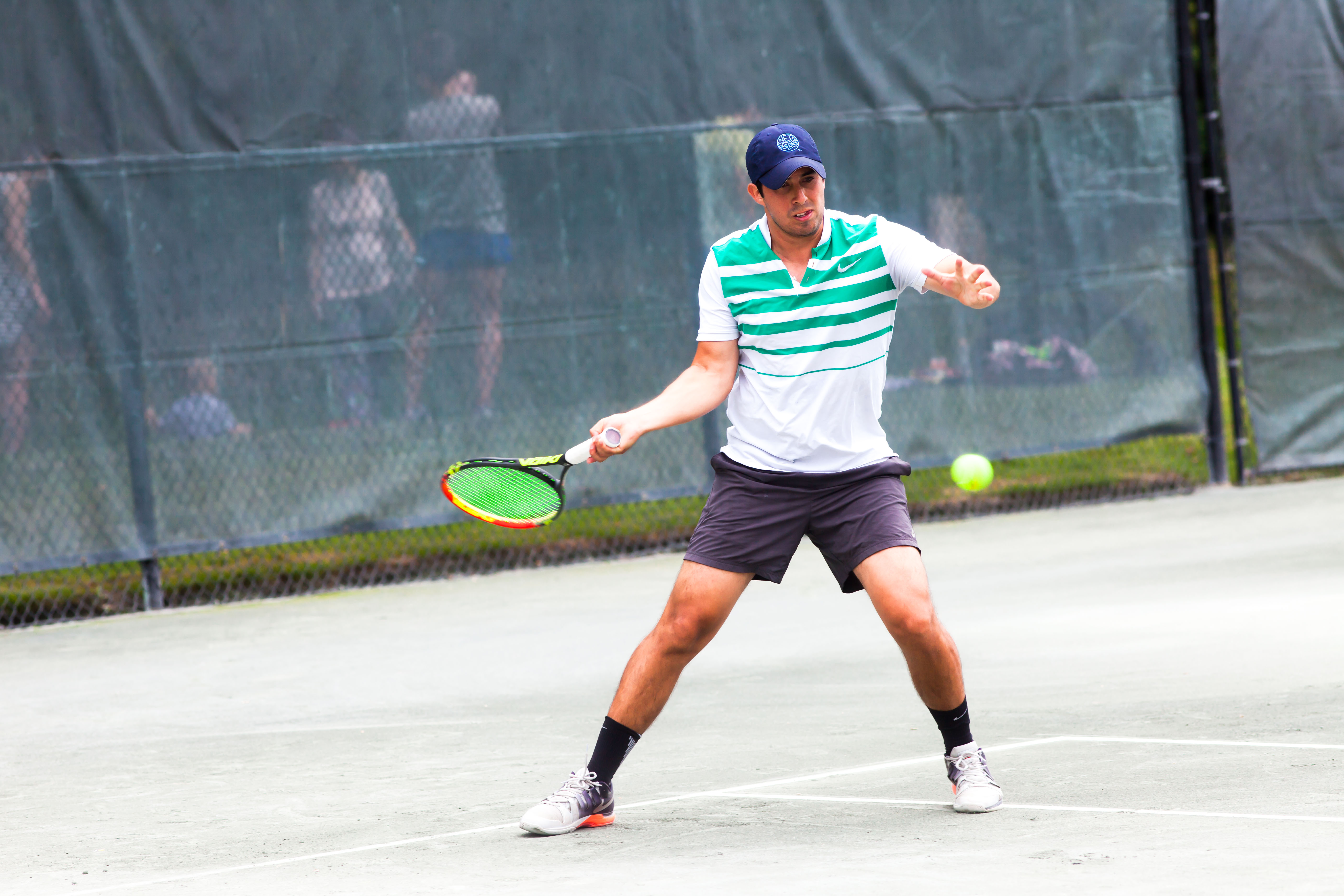 Gustavo Loza, Tennis Service Representative for the USTA Eastern Metro Region, still finds time to play competitive tennis as pictured here taking part in the Long Island Tennis Magazine Challenge