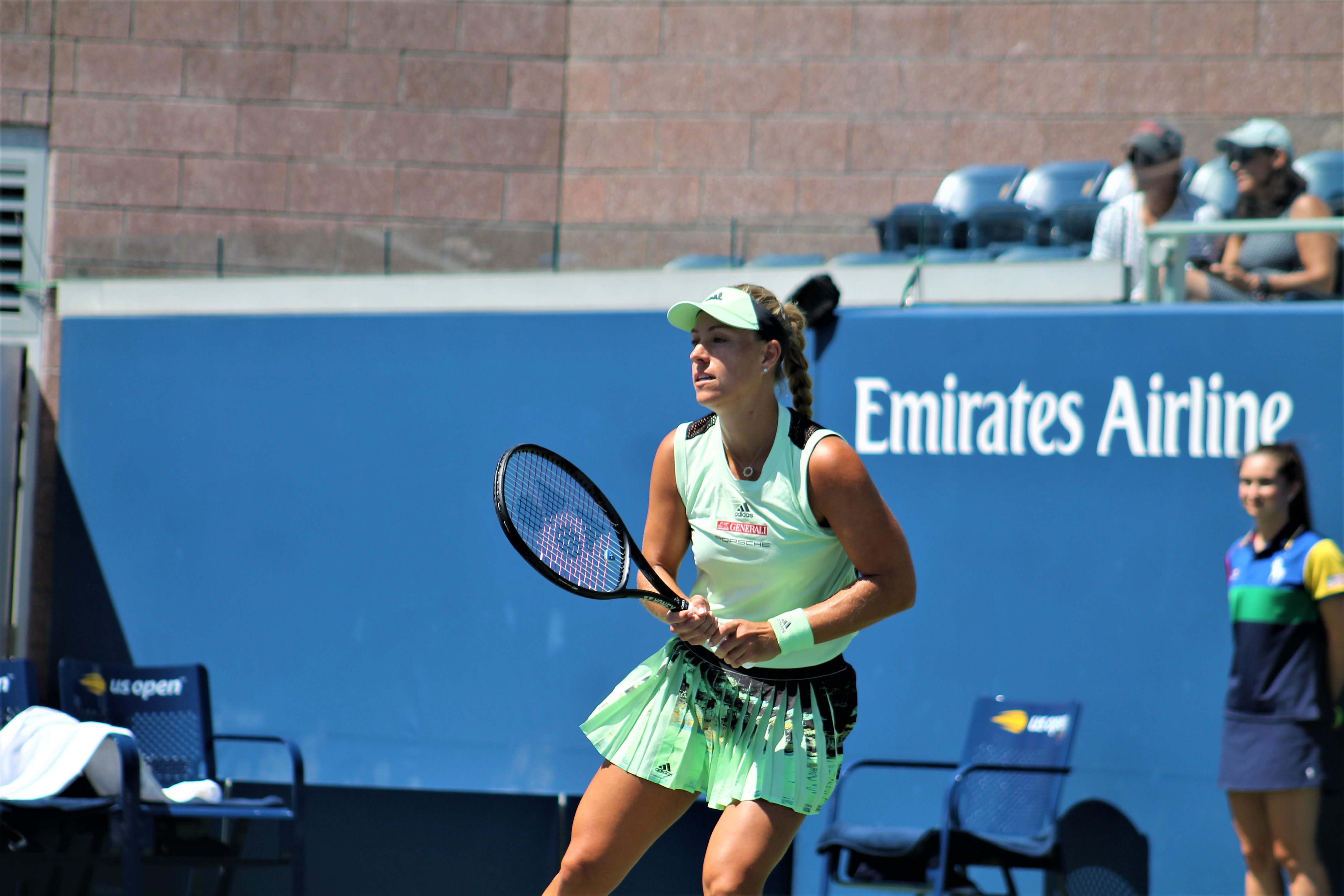 The 14th seed and former champion Angelique Kerber at the US Open on Monday, falling to France's Kristina Mladenovic