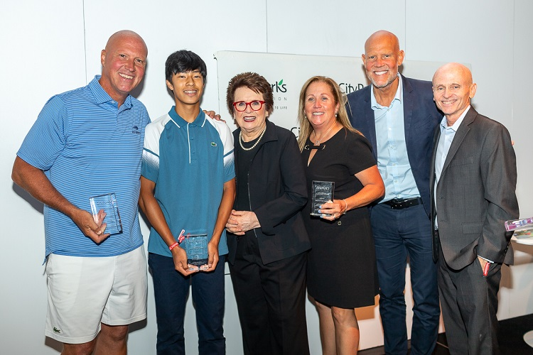 From left to right: Luke Jensen, Justin Chong, Billie Jean King, Jenny Schnitzer, Murphy Jensen and Mike Silverman, City Parks Foundation's Director of Sports.
