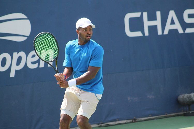 American Donald Young competing in the 2018 US Open qualifying tournament.