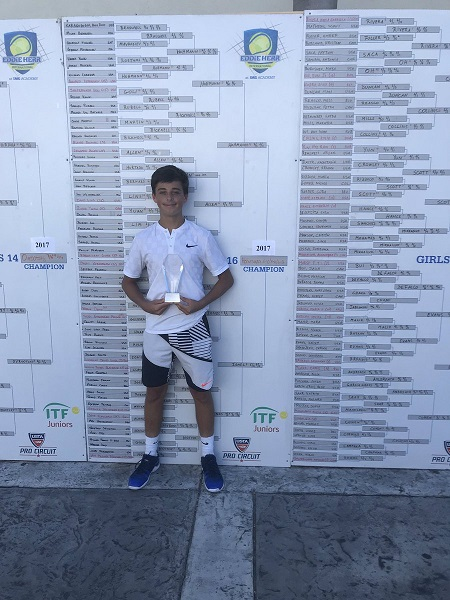 Ronnie Hohmann won the Boys 16s title at the famous Eddie Herr Internationals in Florida, a signature win in his junior career.