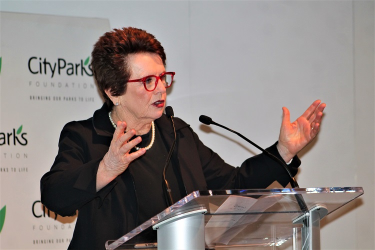 Tennis legend Billie Jean King was a guest speaker at the City Parks Foundation's annual Tennis Benefit, which took place during the 2019 US Open.