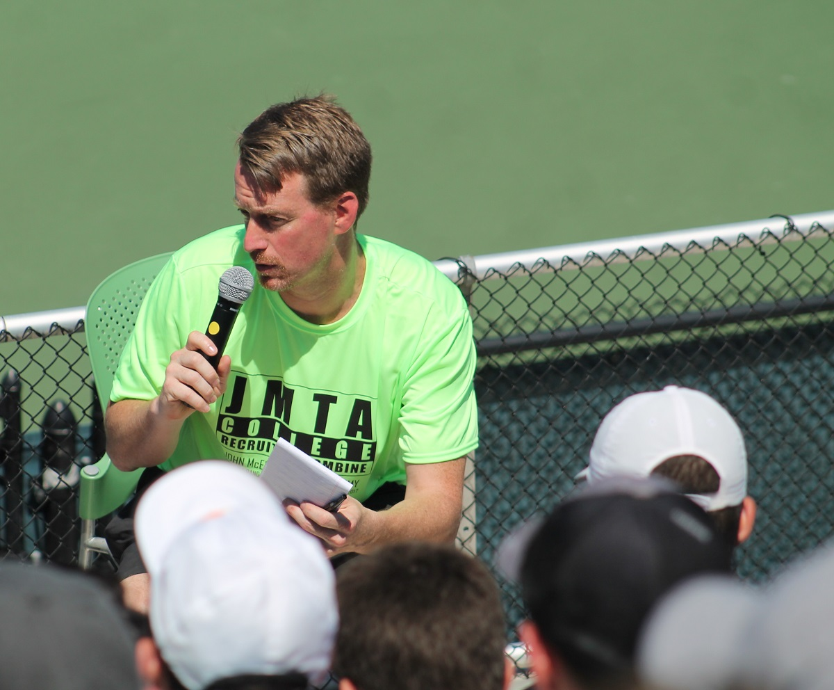 Jay Harris, JMTA College Recruiting Combine Director, talks to players before the coaches panel at least year's combine.