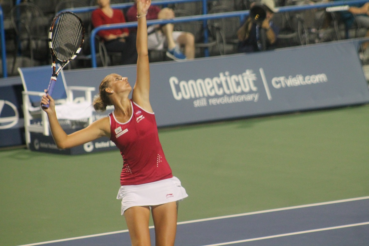 Former World No. 1 Karolina Pliskova serves during a previous Connecticut Open. The tournament announced last week that it had sold its sanction on the WTA Calendar.