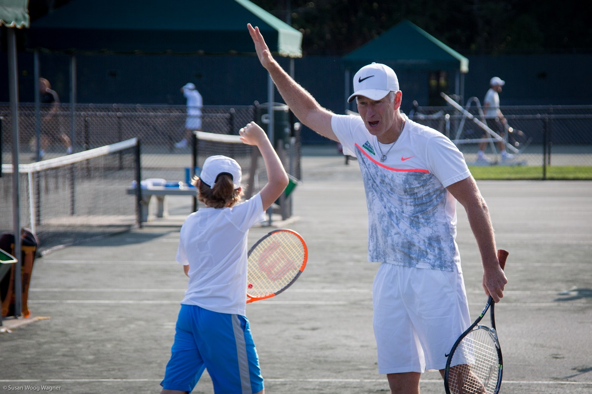 """""""The goal is to service and help more and more NYC kids, where tennis becomes a driving force in their lives, and gets them a college education, and hopefully even more,"""" John McEnroe said of the Johnny Mac Tennis Project, which was founded in 2012."""