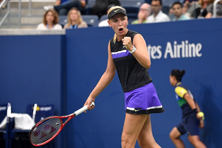 Croatia's Donna Vekic put together the best tournament of her career in advancing to the US Open quarterfinals. (USTA/Mike Lawrence)
