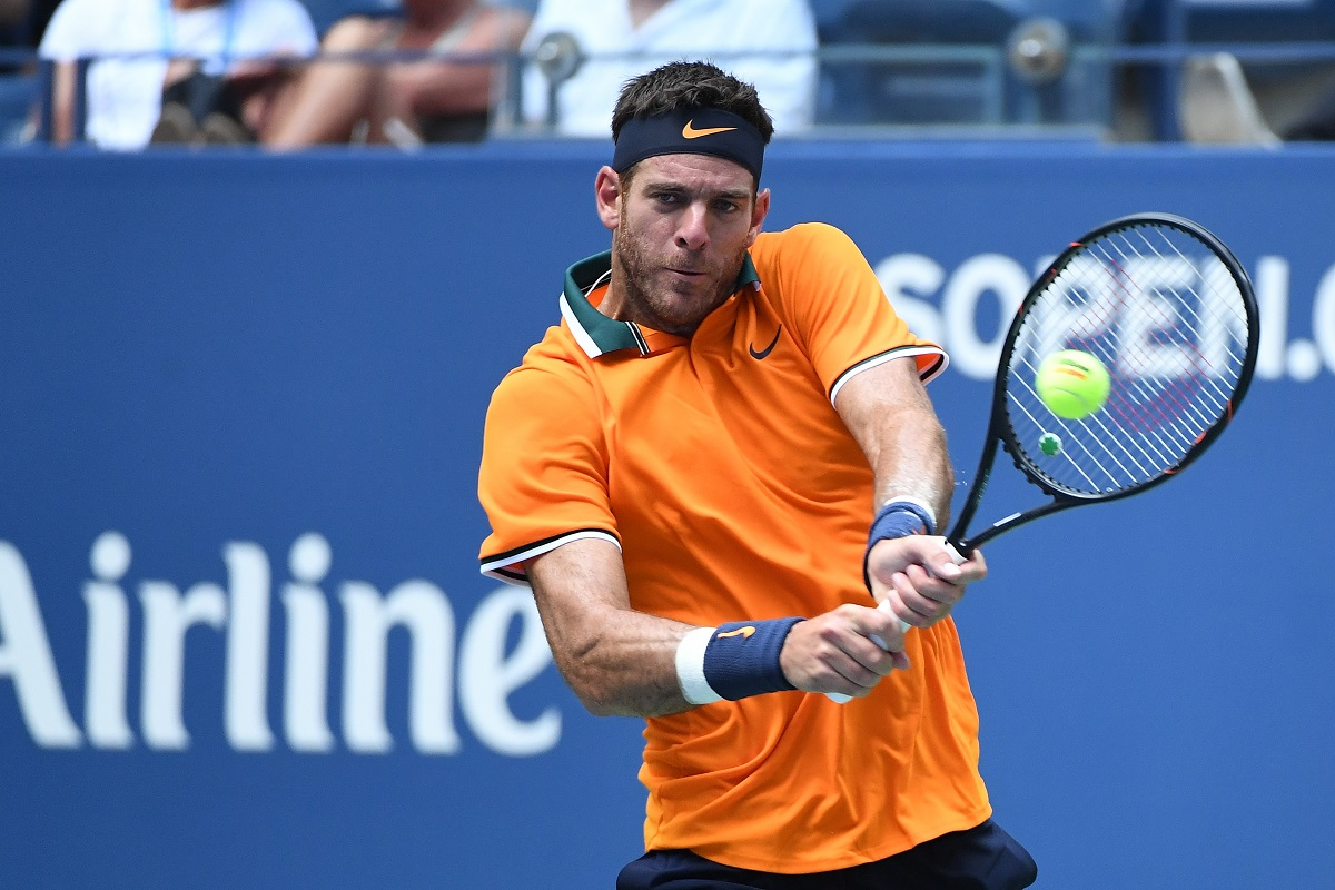 Juan Martin del Potro burst his way into the U.S. Open semifinals on Tuesday, hitting 49 winners and withstanding 67 from 11th seeded American John Isner in a 6-7(5), 6-3, 7-6(4), 6-2 victory inside Arthur Ashe Stadium.