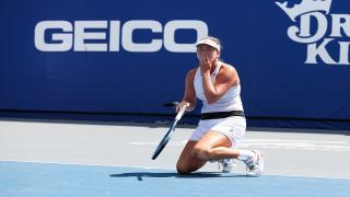 Coco Vandeweghe celebrates after clinching the New York Empire's first-ever World TeamTennis championship.