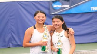 Celina Liu and Christina Huynh won the Girls UTR 8-9 Doubles Championship at Queens College Indoor Tennis Center.