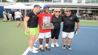 From left to right: Cary Leeds Executive Director of Tennis Liezel Huber, Shawn Mitchell Yon, Mayor's Cup Tournament Director Pam Glick and Cary Leeds' Director of High Performance Tony Huber.