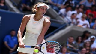 Madison Keys powered her way into the U.S. Open quarterfinals on Monday, improving to 5-0 all-time against Slovakia's Dominika Cibulkova with a 6-1, 6-3 drubbing in Arthur Ashe Stadium.