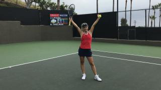 Jessica Livianu celebrates after she advanced to the second round of the Oracle ITA Masters on Thursday.
