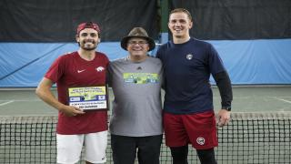 Pro division champion Jose Salazar, One-on-One Doubles Founder Ed Krass and pro division runner-up Gary Kushnirovich.