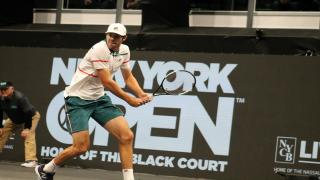 After needing more than 10 minutes to hold serve in the match's opening game, defending New York Open champion Reilly Opelka found his rhythm on serve the rest of the way to defeat Japan's Yoshihito Nishioka 6-4, 6-4 and reach the quarterfinals.