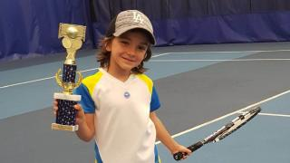 Noah Vinbaytel, 8, has quickly moved up the junior ranks and is now playing up in the 12s division.