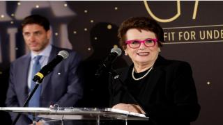 Gala co-hosts, Tennis Legend Billie Jean King and Mike Greenberg of ESPN.